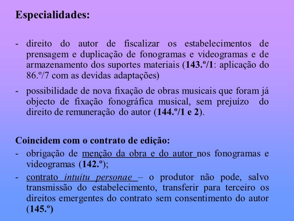 Especialidades: -direito do autor de fiscalizar os estabelecimentos de prensagem e duplicação de fonogramas e videogramas e de armazenamento dos supor