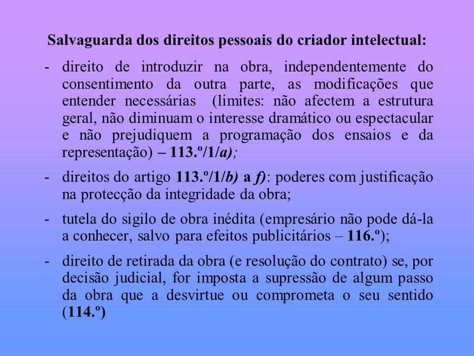 Salvaguarda dos direitos pessoais do criador intelectual: -direito de introduzir na obra, independentemente do consentimento da outra parte, as modifi