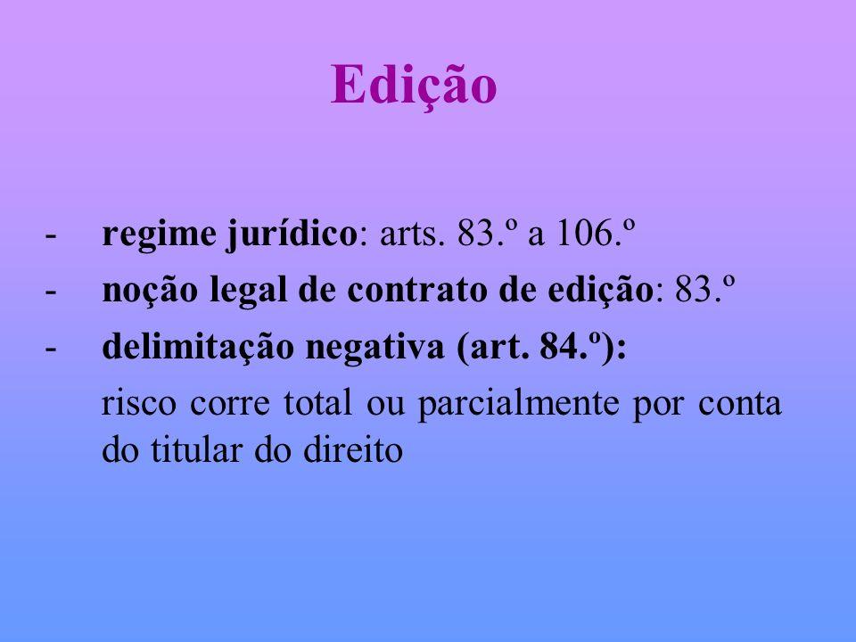 Edição -regime jurídico: arts. 83.º a 106.º -noção legal de contrato de edição: 83.º -delimitação negativa (art. 84.º): risco corre total ou parcialme