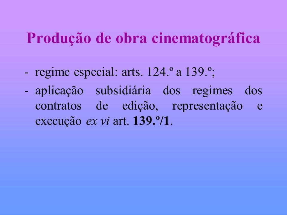 Produção de obra cinematográfica -regime especial: arts. 124.º a 139.º; -aplicação subsidiária dos regimes dos contratos de edição, representação e ex
