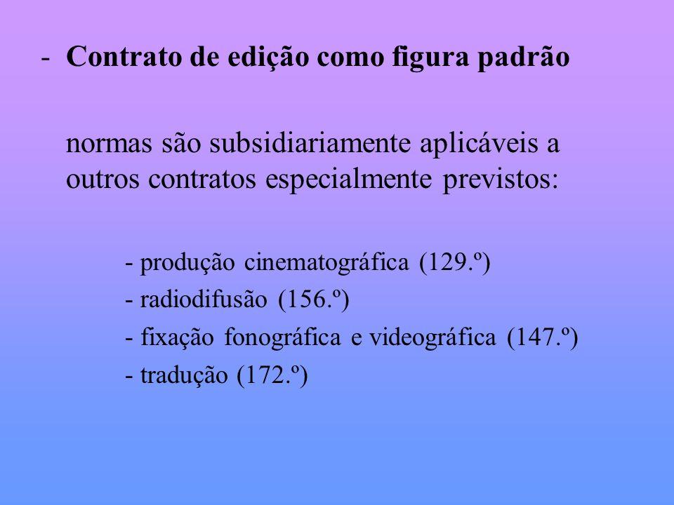 Elementos essenciais do conteúdo: Retribuição do autor (91.º) Número de edições abrangidas (norma subsidiária: 86.º/2 – uma edição) Número de exemplares de cada edição (norma subsidiária: 86.º/3 obrigação do editor de produzir, pelo menos, 2000 exemplares) Preço de venda ao público de cada exemplar (86.º/1)