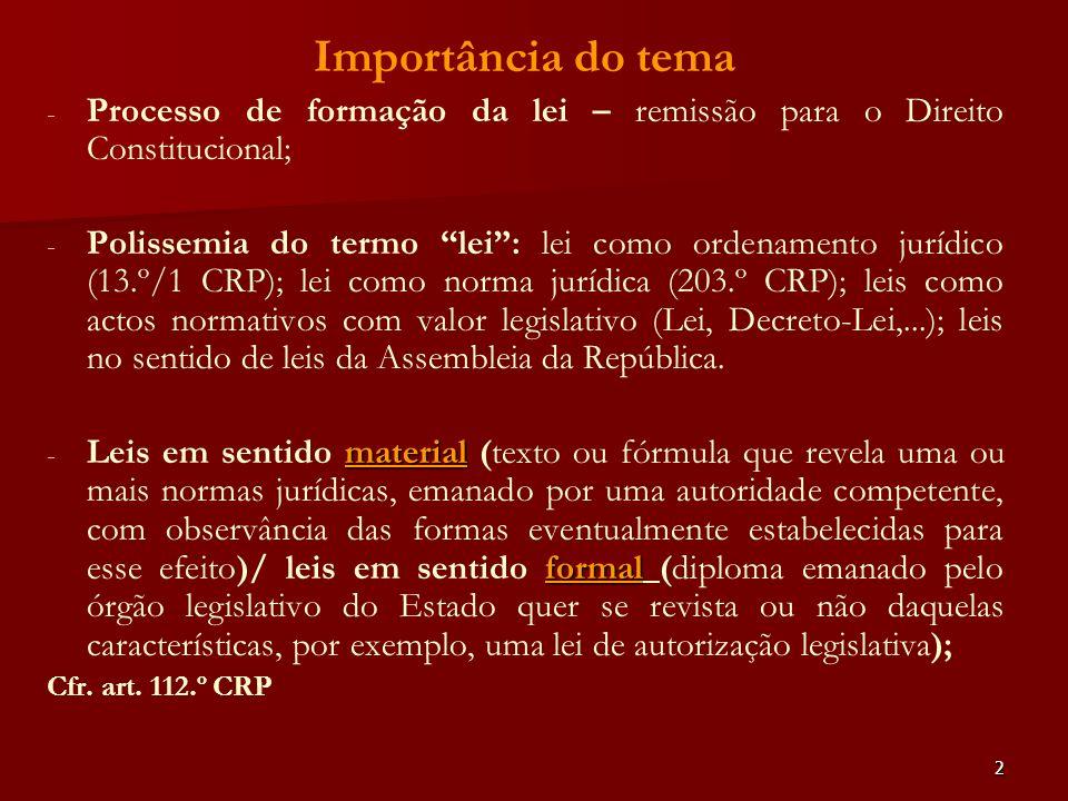 2 Importância do tema - - Processo de formação da lei – remissão para o Direito Constitucional; - - Polissemia do termo lei: lei como ordenamento jurí