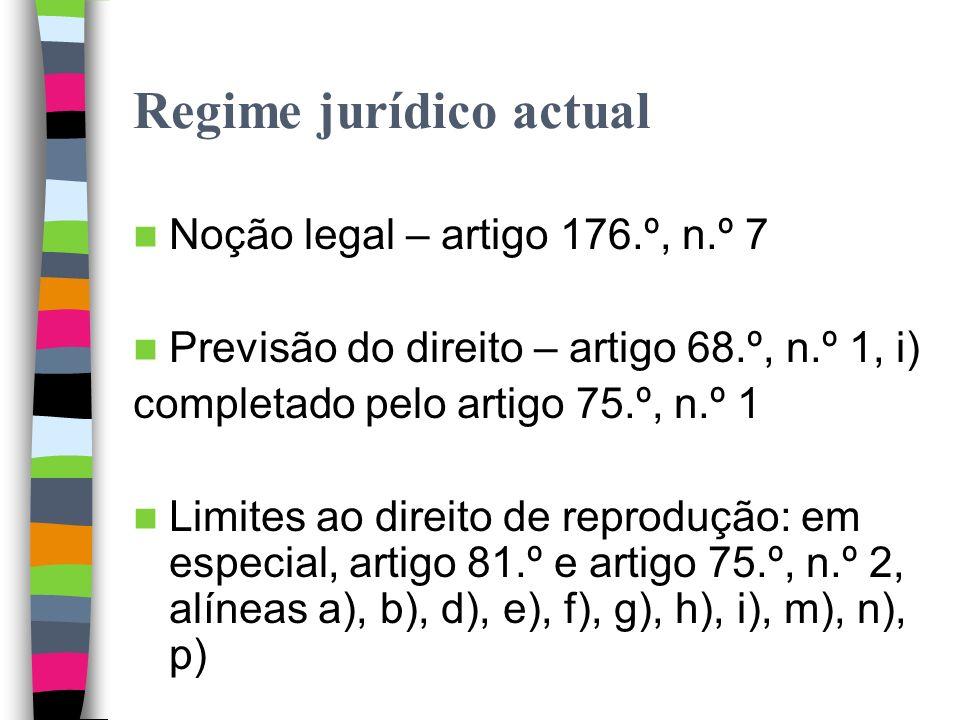 Regime jurídico actual Artigo 9.º da Convenção de Berna Não regulação pelo Tratado da OMPI sobre Direito de Autor (projecto de artigo 7.º) Artigo 7.º