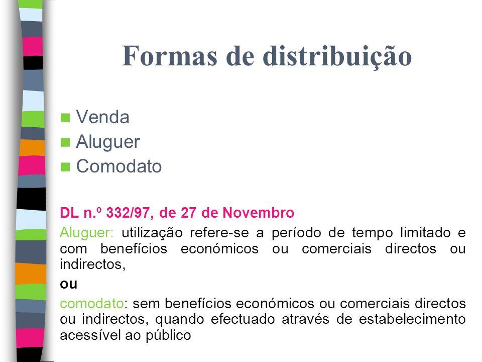 Direito de distribuição Direito de distribuição = direito de pôr os exemplares da obra em circulação Objecto = obra (não exemplares) Poder de decidir sobre a venda, aluguer e outras formas de pôr em circulação através de exemplares Art.