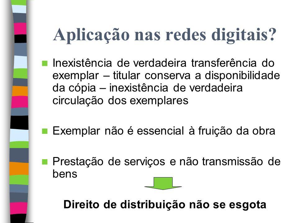Teoria do esgotamento Objectivo: conflito dois direitos absolutos – o direito de distribuição e o direito de propriedade do utilizador sobre o exempla