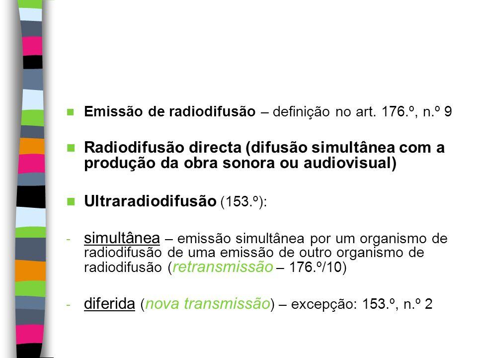Dependem de autorização do autor (art. 149.º): - a radiodifusão (tanto directa como por retransmissão) - a comunicação da obra em qualquer lugar públi