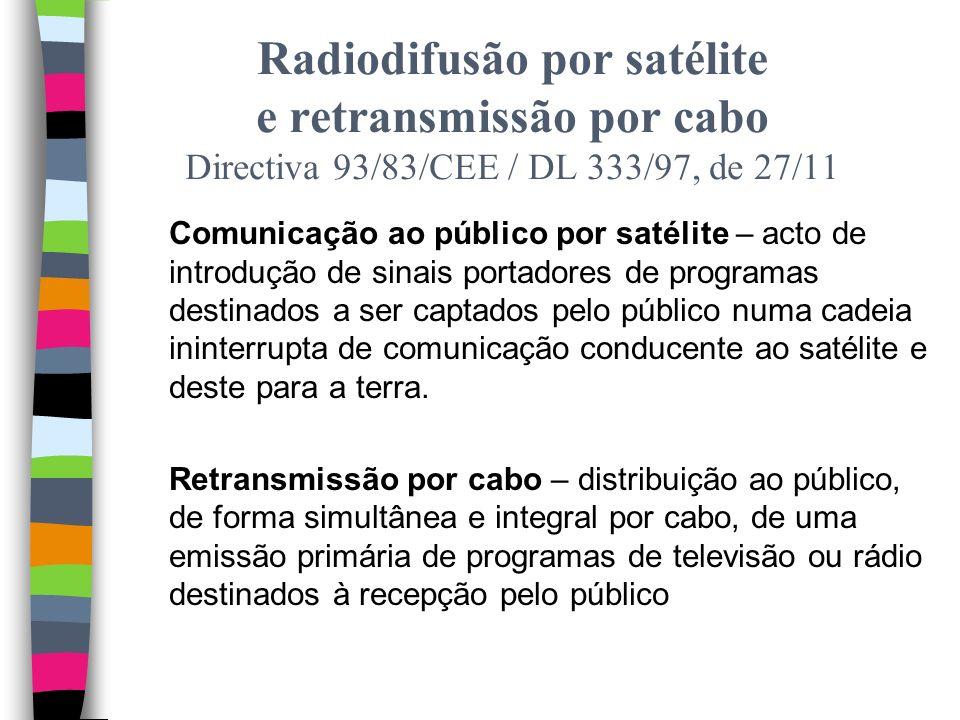 Emissão de radiodifusão – definição no art. 176.º, n.º 9 Radiodifusão directa (difusão simultânea com a produção da obra sonora ou audiovisual) Ultrar