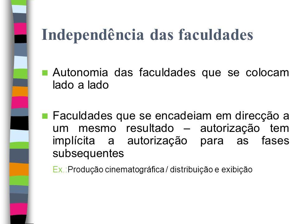 Independência das faculdades Art. 68.º, n.º 4 – As diversas formas de utilização da obra são independentes umas das outras e a adopção de qualquer del