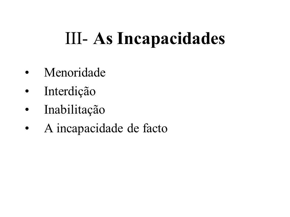 III- As Incapacidades Menoridade Interdição Inabilitação A incapacidade de facto