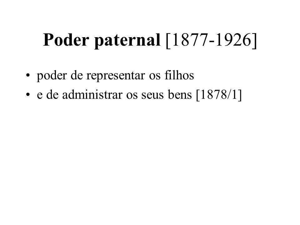 Poder paternal [1877-1926] poder de representar os filhos e de administrar os seus bens [1878/1]