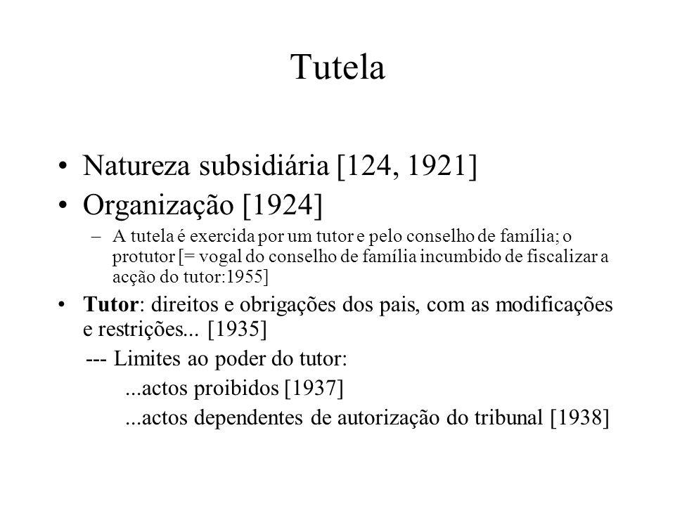 Tutela Natureza subsidiária [124, 1921] Organização [1924] –A tutela é exercida por um tutor e pelo conselho de família; o protutor [= vogal do consel