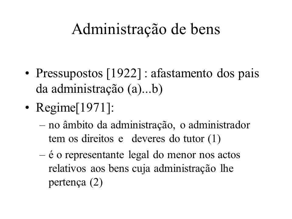Administração de bens Pressupostos [1922] : afastamento dos pais da administração (a)...b) Regime[1971]: –no âmbito da administração, o administrador