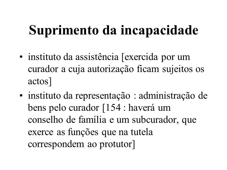 Suprimento da incapacidade instituto da assistência [exercida por um curador a cuja autorização ficam sujeitos os actos] instituto da representação :