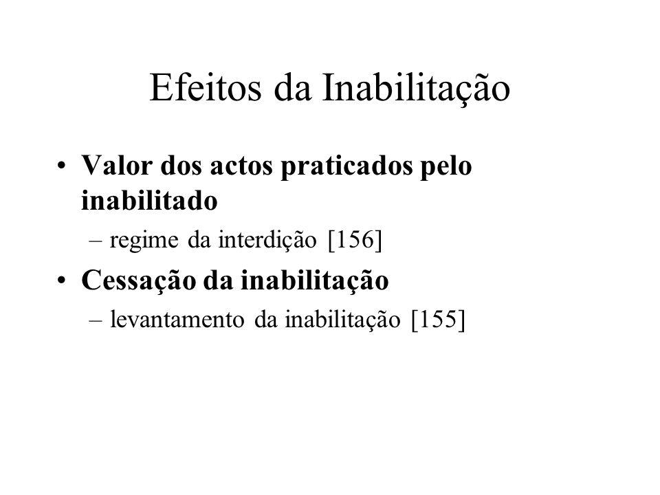 Efeitos da Inabilitação Valor dos actos praticados pelo inabilitado –regime da interdição [156] Cessação da inabilitação –levantamento da inabilitação