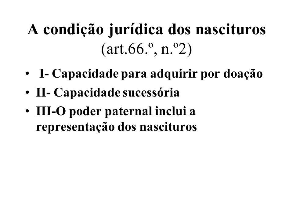 A condição jurídica dos nascituros (art.66.º, n.º2) I- Capacidade para adquirir por doação II- Capacidade sucessória III-O poder paternal inclui a rep