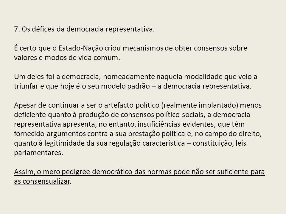 7. Os défices da democracia representativa.