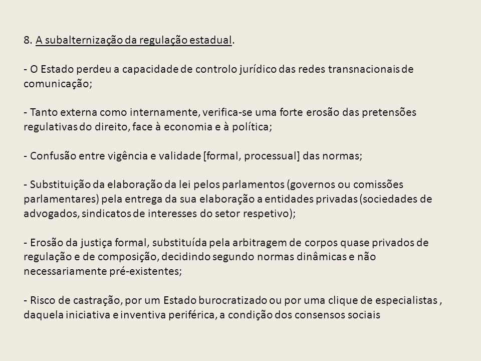 8. A subalternização da regulação estadual.