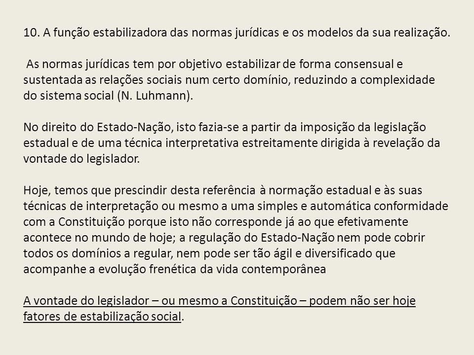 10. A função estabilizadora das normas jurídicas e os modelos da sua realização.