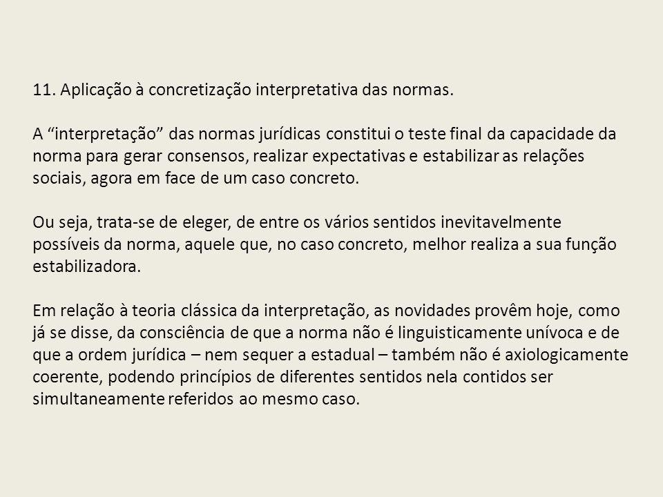 11. Aplicação à concretização interpretativa das normas.