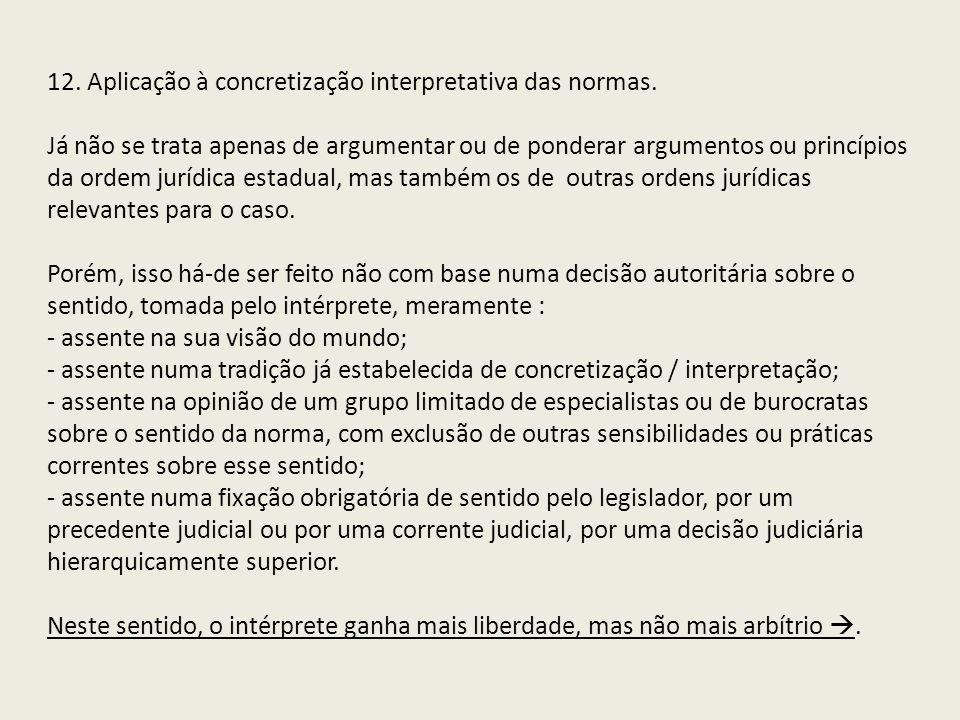 12. Aplicação à concretização interpretativa das normas.