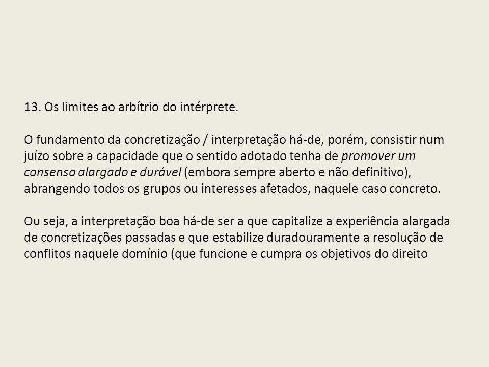 13. Os limites ao arbítrio do intérprete.