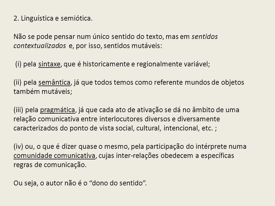 2. Linguística e semiótica.