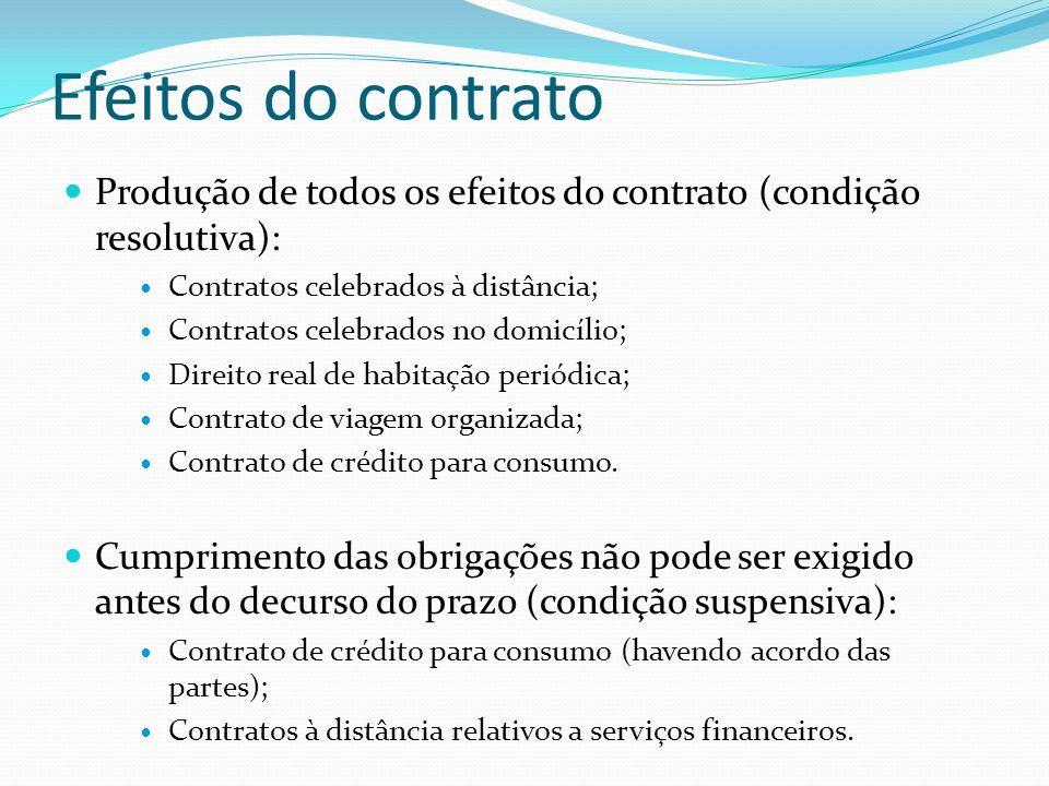 Efeitos do contrato Produção de todos os efeitos do contrato (condição resolutiva): Contratos celebrados à distância; Contratos celebrados no domicíli