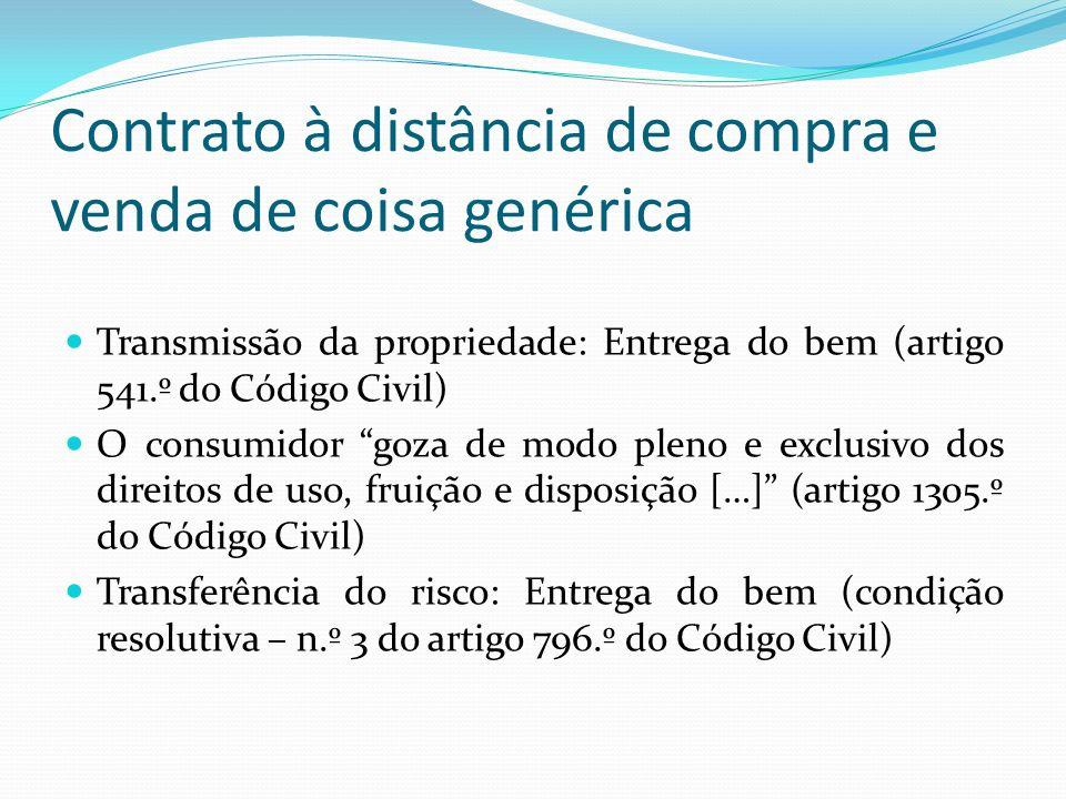 Contrato à distância de compra e venda de coisa genérica Transmissão da propriedade: Entrega do bem (artigo 541.º do Código Civil) O consumidor goza d