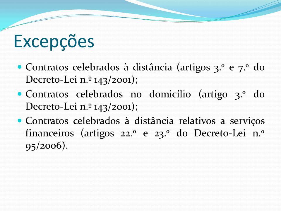 Excepções Contratos celebrados à distância (artigos 3.º e 7.º do Decreto-Lei n.º 143/2001); Contratos celebrados no domicílio (artigo 3.º do Decreto-L
