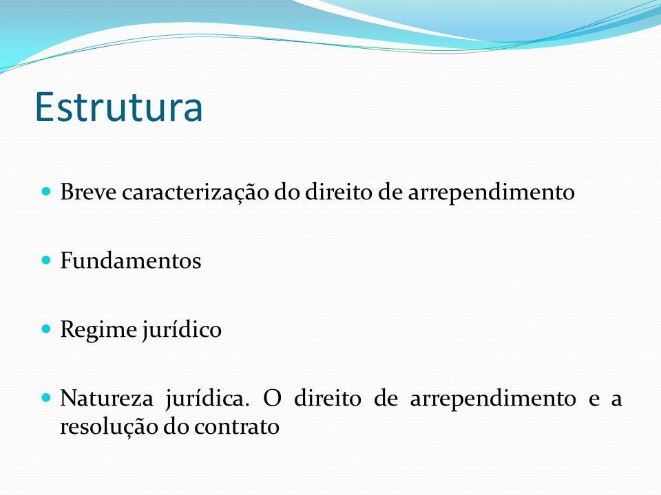 Estrutura Breve caracterização do direito de arrependimento Fundamentos Regime jurídico Natureza jurídica. O direito de arrependimento e a resolução d