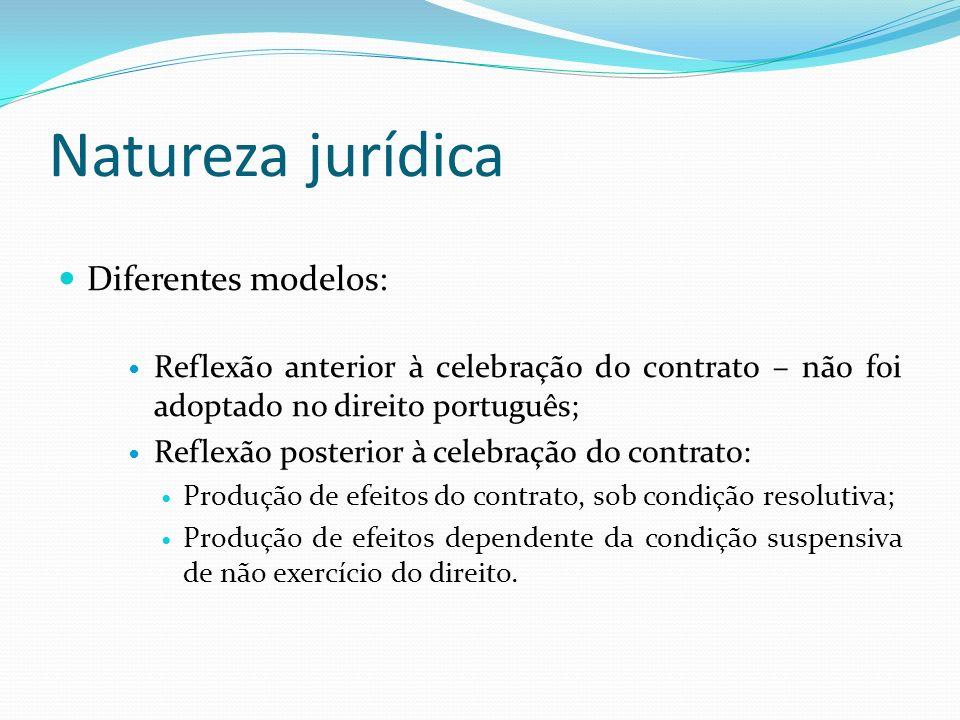 Natureza jurídica Diferentes modelos: Reflexão anterior à celebração do contrato – não foi adoptado no direito português; Reflexão posterior à celebra