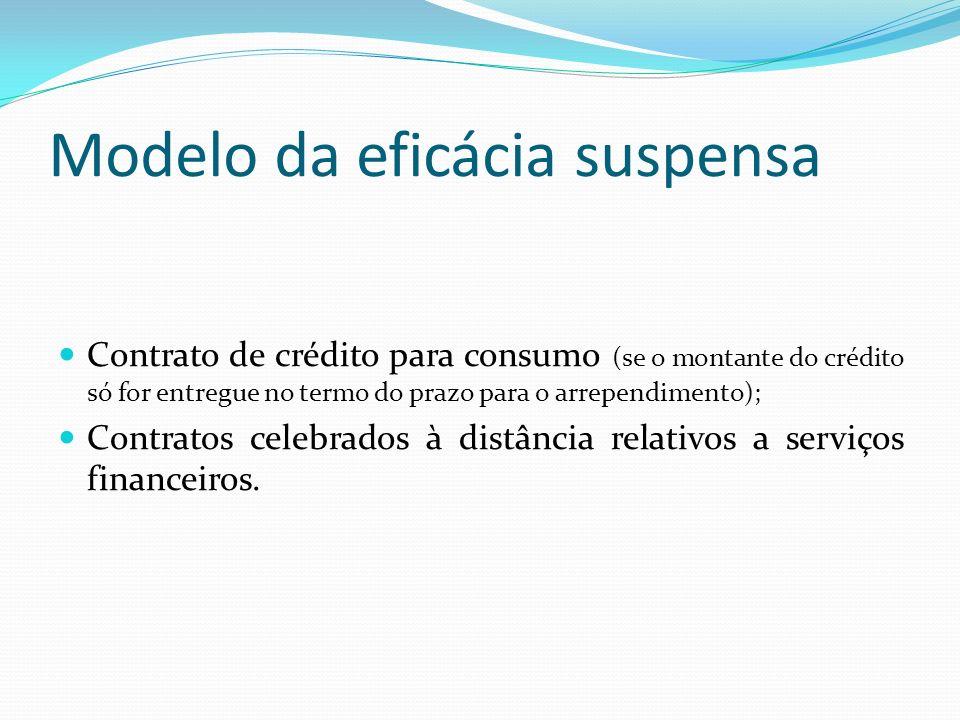 Modelo da eficácia suspensa Contrato de crédito para consumo (se o montante do crédito só for entregue no termo do prazo para o arrependimento); Contr