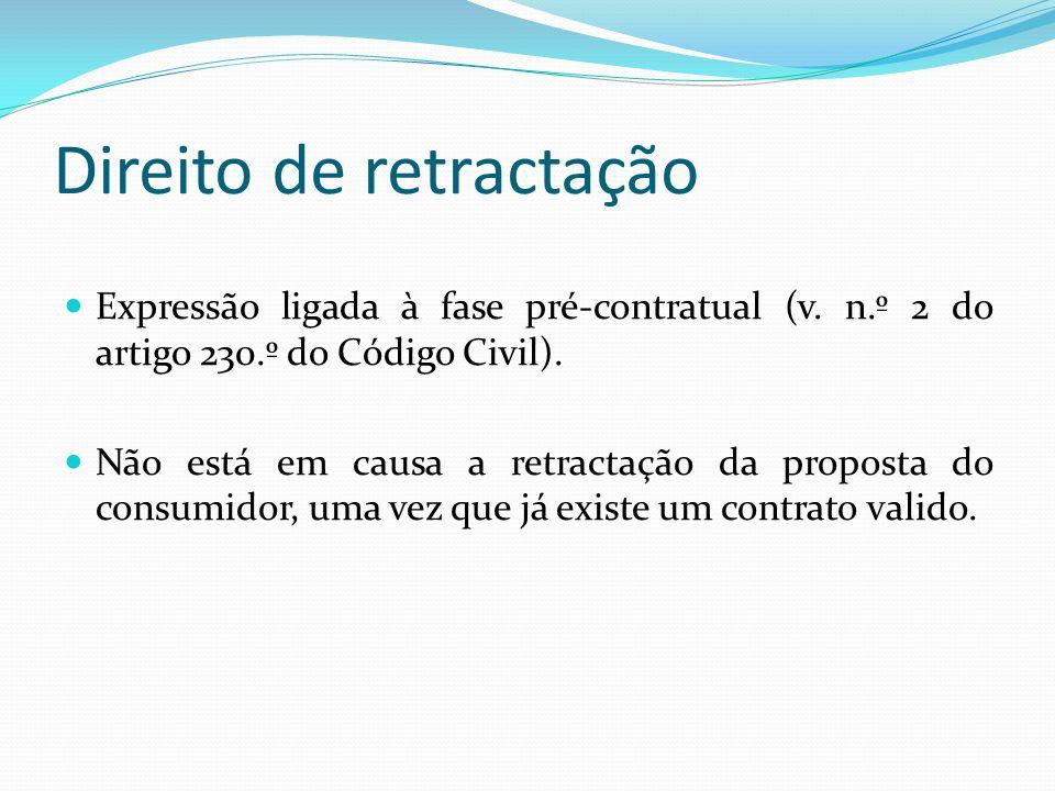Direito de retractação Expressão ligada à fase pré-contratual (v. n.º 2 do artigo 230.º do Código Civil). Não está em causa a retractação da proposta