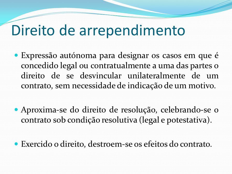 Direito de arrependimento Expressão autónoma para designar os casos em que é concedido legal ou contratualmente a uma das partes o direito de se desvi