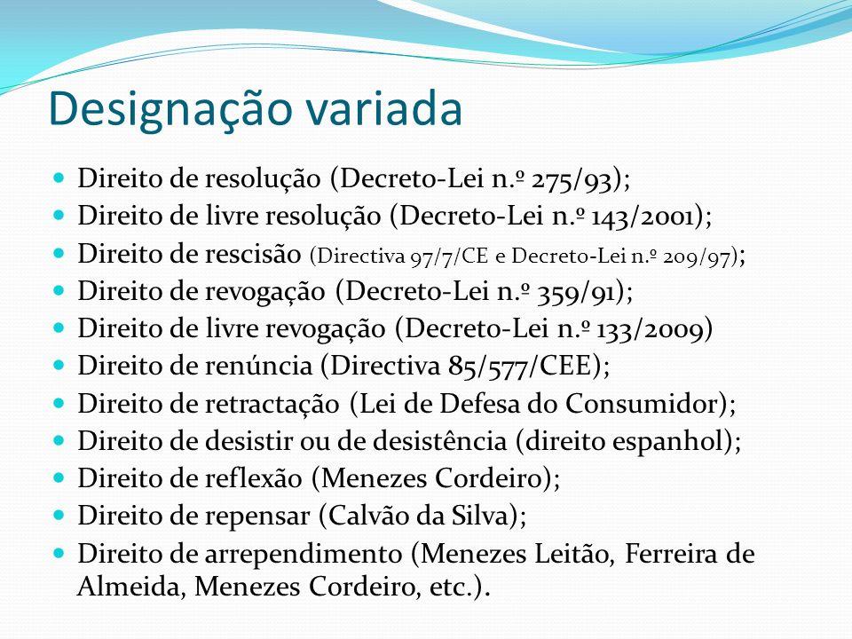 Designação variada Direito de resolução (Decreto-Lei n.º 275/93); Direito de livre resolução (Decreto-Lei n.º 143/2001); Direito de rescisão (Directiv