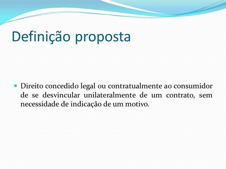 Definição proposta Direito concedido legal ou contratualmente ao consumidor de se desvincular unilateralmente de um contrato, sem necessidade de indic