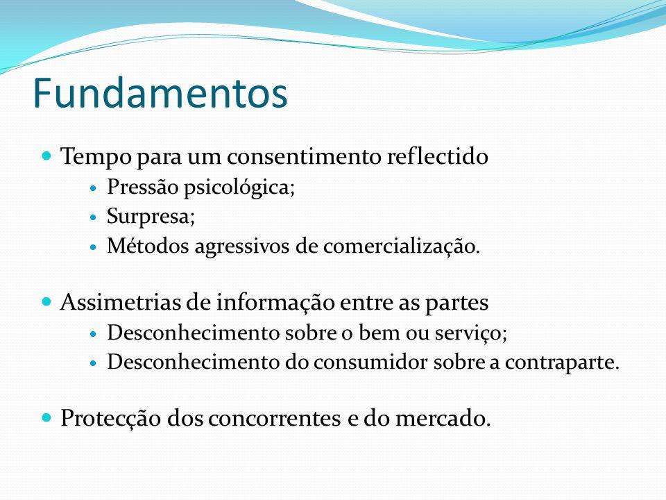 Direito de arrependimento Fonte contratual Iniciativa do profissional fora do estabelecimento comercial (artigo 9.º, n.º 7, da Lei de Defesa do Consumidor) Contratos celebrados à distância (artigo 6.º do Decreto-Lei n.º 143/2001 e artigo 19.º do Decreto-Lei n.º 95/2006, de 29 de Maio) Contratos celebrados no domicílio ou equiparados (artigo 18.º do Decreto-Lei n.º 143/2001) Contratos especiais esporádicos (artigo 24.º, n.º 2, do Decreto-Lei n.º 143/2001) Contrato de crédito para consumo (artigo 17.º do Decreto-Lei n.º 133/2009) Contrato de viagem organizada (artigo 29.º do Decreto-Lei n.º 209/97) Direito real de habitação periódica e direito de habitação turística (artigos 16.º, 19.º e 49.º do Decreto-Lei n.º 275/93) Contrato de Seguro (artigo 118.º do Decreto-Lei n.º 72/2008)