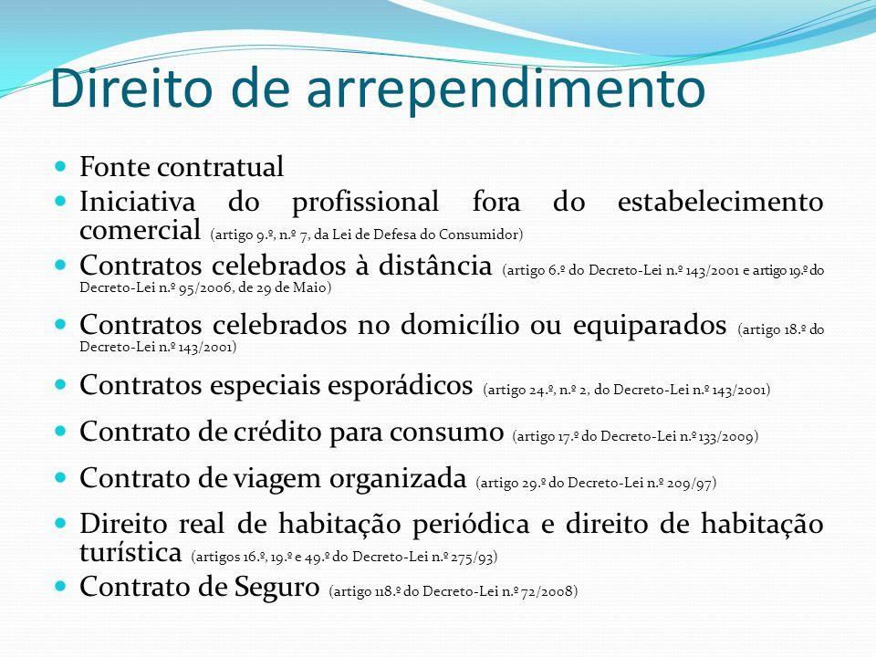 Direito de arrependimento Fonte contratual Iniciativa do profissional fora do estabelecimento comercial (artigo 9.º, n.º 7, da Lei de Defesa do Consum