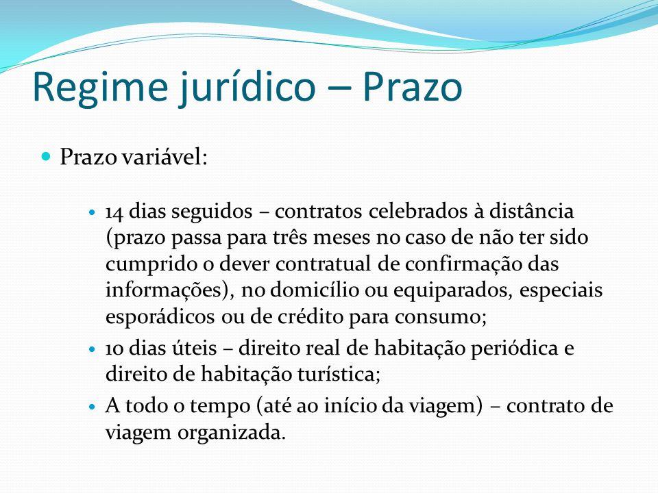 Regime jurídico – Prazo Prazo variável: 14 dias seguidos – contratos celebrados à distância (prazo passa para três meses no caso de não ter sido cumpr