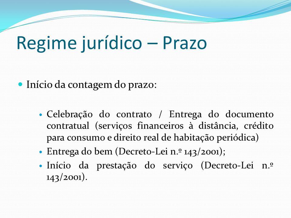 Regime jurídico – Prazo Início da contagem do prazo: Celebração do contrato / Entrega do documento contratual (serviços financeiros à distância, crédi