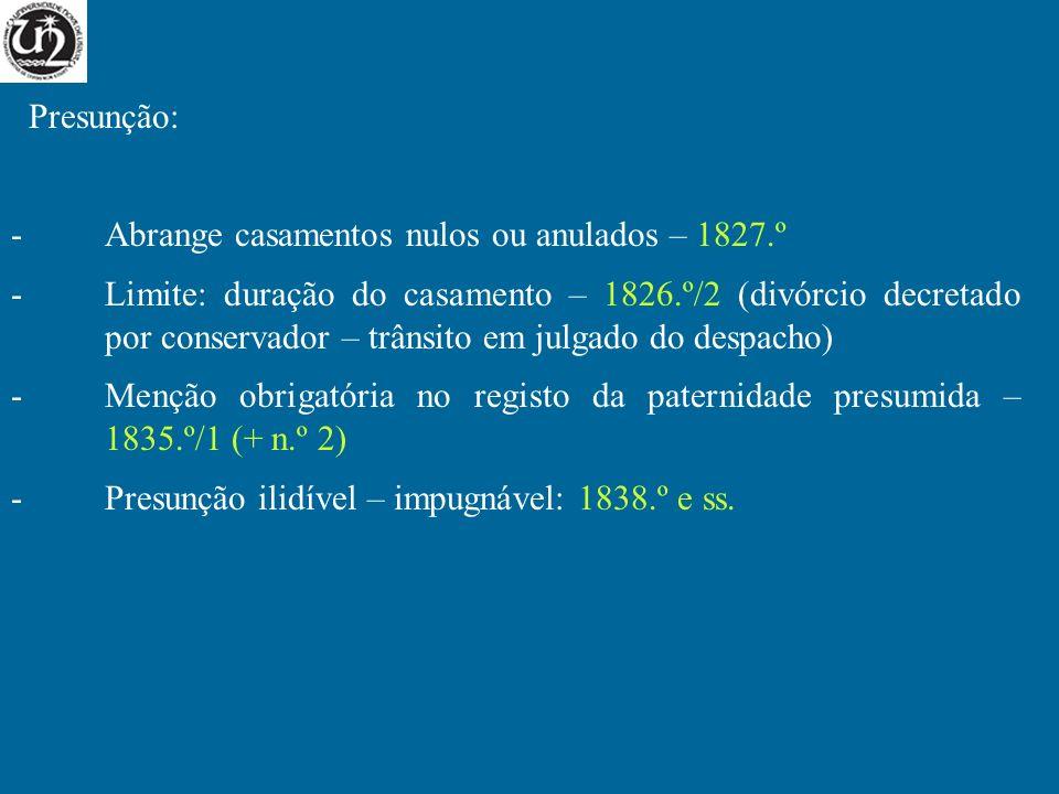 Presunção: -Abrange casamentos nulos ou anulados – 1827.º -Limite: duração do casamento – 1826.º/2 (divórcio decretado por conservador – trânsito em j