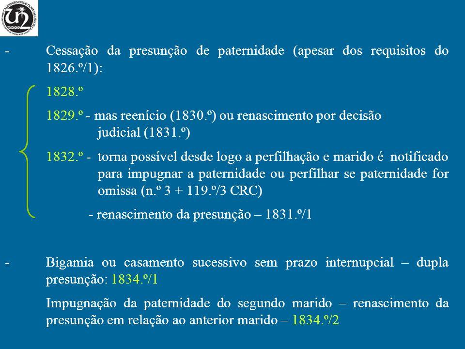 -Cessação da presunção de paternidade (apesar dos requisitos do 1826.º/1): 1828.º 1829.º - mas reenício (1830.º) ou renascimento por decisão judicial