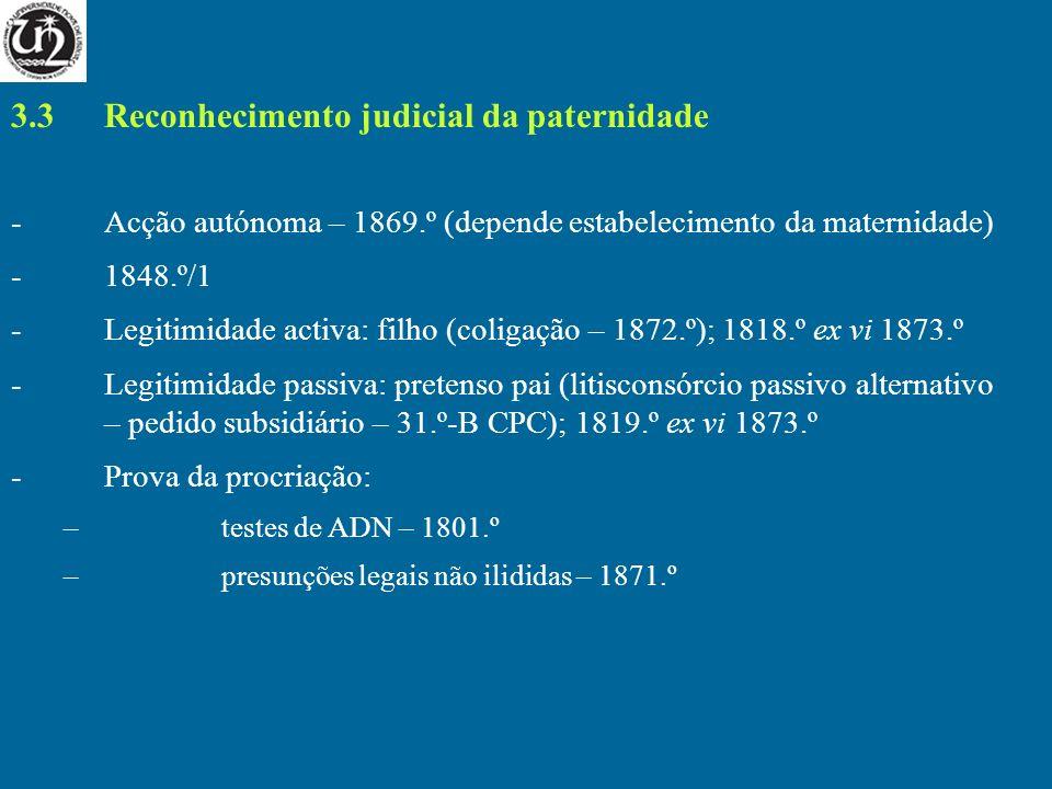 3.3 Reconhecimento judicial da paternidade -Acção autónoma – 1869.º (depende estabelecimento da maternidade) -1848.º/1 -Legitimidade activa: filho (co