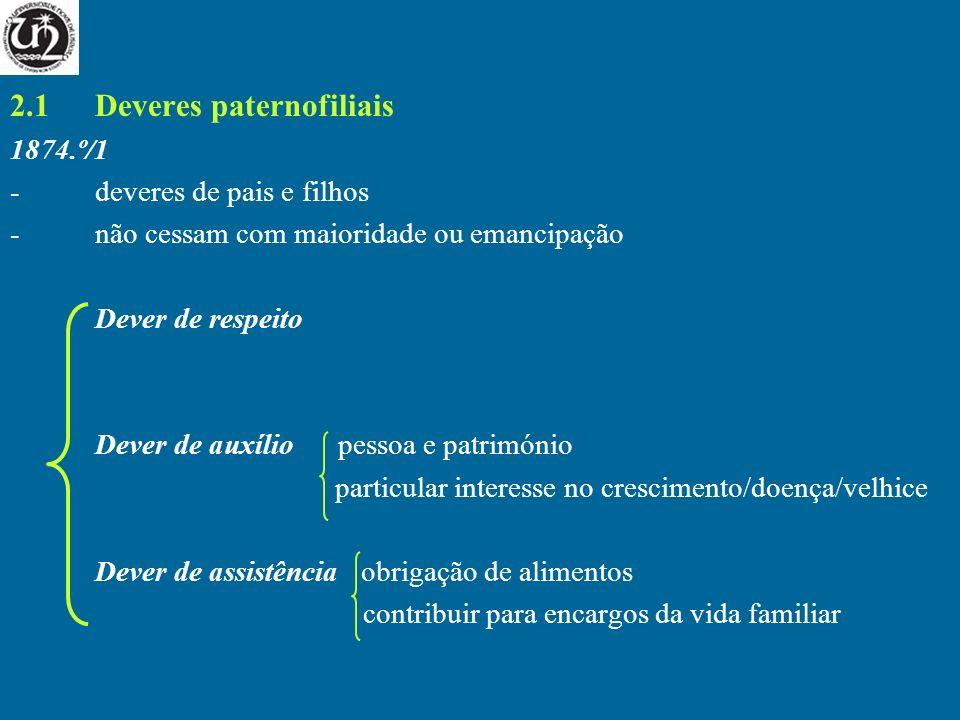 2.1Deveres paternofiliais 1874.º/1 -deveres de pais e filhos -não cessam com maioridade ou emancipação Dever de respeito Dever de auxílio pessoa e pat