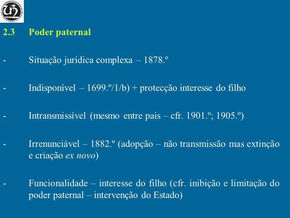 2.3Poder paternal -Situação jurídica complexa – 1878.º -Indisponível – 1699.º/1/b) + protecção interesse do filho -Intransmissível (mesmo entre pais –