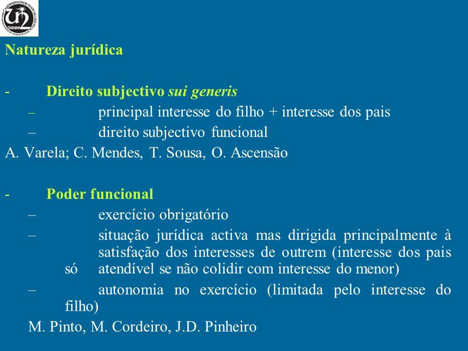 Natureza jurídica -Direito subjectivo sui generis – principal interesse do filho + interesse dos pais –direito subjectivo funcional A. Varela; C. Mend