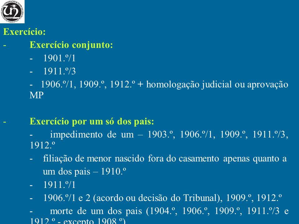 Exercício: -Exercício conjunto: - 1901.º/1 - 1911.º/3 - 1906.º/1, 1909.º, 1912.º + homologação judicial ou aprovação MP -Exercício por um só dos pais: