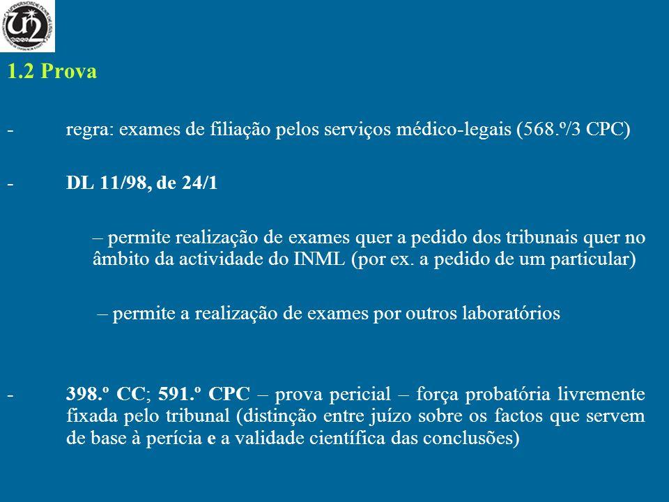 1.2 Prova -regra: exames de filiação pelos serviços médico-legais (568.º/3 CPC) -DL 11/98, de 24/1 – permite realização de exames quer a pedido dos tr
