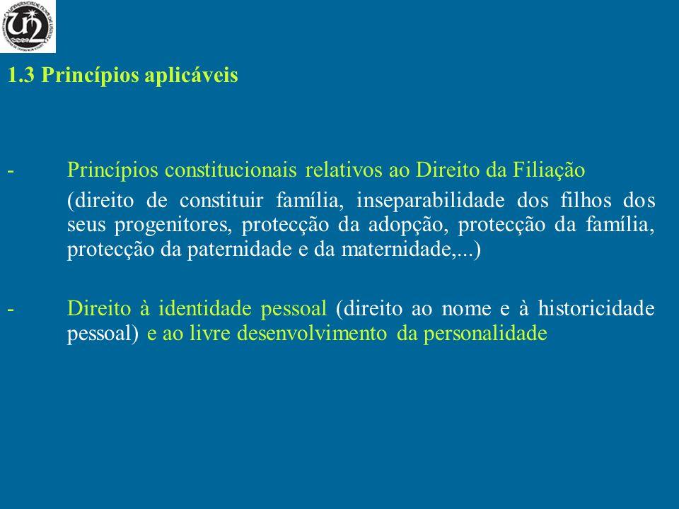 1.3 Princípios aplicáveis -Princípios constitucionais relativos ao Direito da Filiação (direito de constituir família, inseparabilidade dos filhos dos