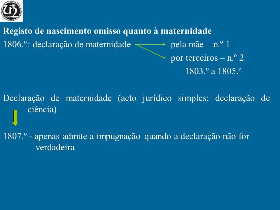 Reconhecimento judicial da maternidade: 1814.º - princípio geral (não limitado temporalmente) 1815.º - Situação de não reconhecimento (necessidade de impugnação prévia da maternidade registada) Acção comum Intentada pelo filho contra a pretensa mãe Legitimidade activa: 1814.º+1818.º Legitimidade passiva: 1819.º Coligação de vv investigantes: 1820.º Prova: 1816.º/1 (presunções: 1816.º/2) Prazo: 1817.º Acção especial Filho nascido ou concebido na constância do matrimónio da pretensa mãe Repercussões na maternidade – legitimidade passiva: 1822.º Possibilidade de impugnação da paternidade do marido da mãe: 1823.º/1 Perfilhação por pessoa diferente: 1823.º/2